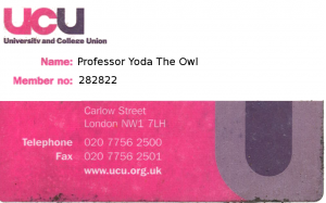 Professor Yoda's union card